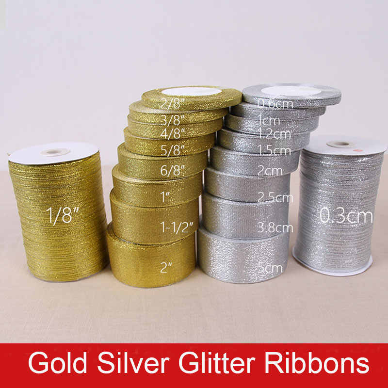 6mm 10mm 15mm 20mm 25mm 40mm 50mm 25Yards Gold Silver Glitter Ribbons Wedding Gift Wrapping Christmas Halloween Party DIY Crafts