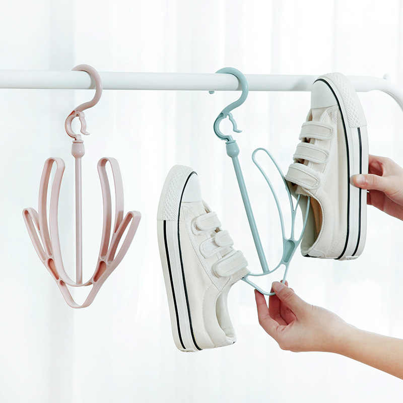 2 Hooks Plastic Shoes Drying Rack Shoes Hanging Storage Shelf Drying Rack Shoe Rack Stand Hanger Organizer