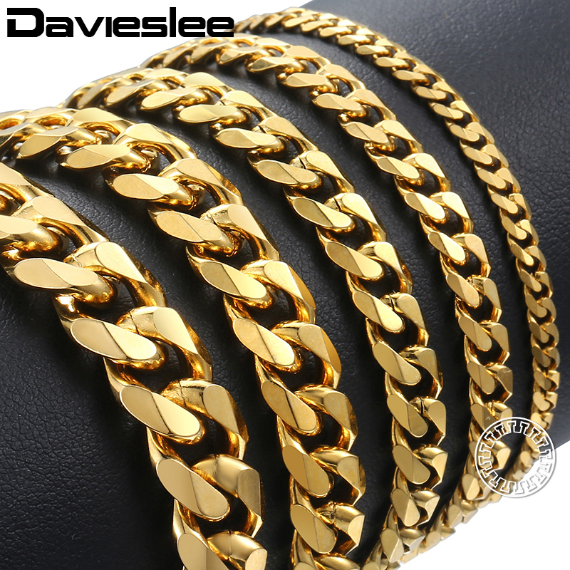 Davieslee Mens Bracelet Chain Polished Stainless Steel Silver Black Gold Chains