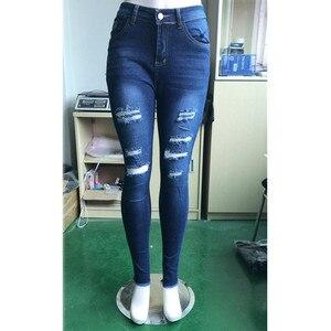 Image 5 - Hohe Taille push up denim jeans Frauen Slim fit calca jeans damen Zerrissene elastische dünne jeans Sexy Loch vintage freund jeans