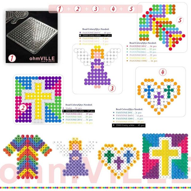 5 In 1 (35a100358) ...... Usd 2.95 /lot ..pegboards Heart + Clothes + Cross ~ Guaranteed 100% Quality +free Shipping!!!