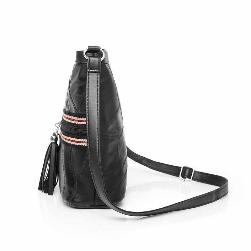 WITFOX حقيبة كتف عادية شريطية للنساء موضة شرابة السيدات رسول حزمة الأسود الشارع ارتداء جلد طبيعي لينة الجلد حقيبة