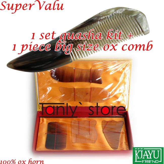 100% ox horn! Traditional Acupuncture Massager tool gift box Gua Sha beauty kit 5pcs/set  + 1pcs guasha chart + 1pcs big comb недорого