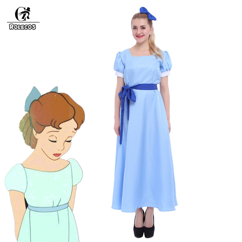 ROLECOS US-Größe - Grüner Elf Peter Pan Cosplay Kostüm Wendy Blue Dresses GC08