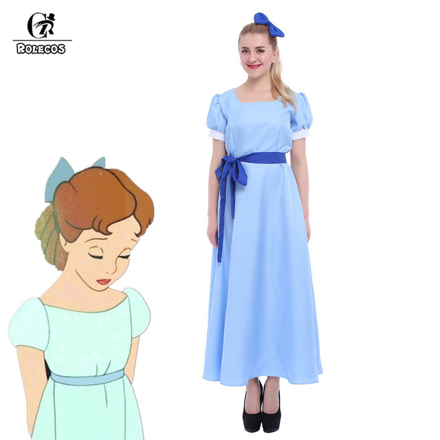 ROLECOS US Size - Green Elf Peter Pan Cosplay Costume Wendy Blue Dresses GC08  sc 1 st  AliExpress.com & ROLECOS US Size Green Elf Peter Pan Cosplay Costume Wendy Blue ...