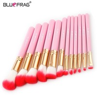 BLUEFRAG Pink 12pcs Full Foundation Makeup Brush Kit Professional Mini Powder Lip Brushes Flame Concealer Nose Cosmetic Tools