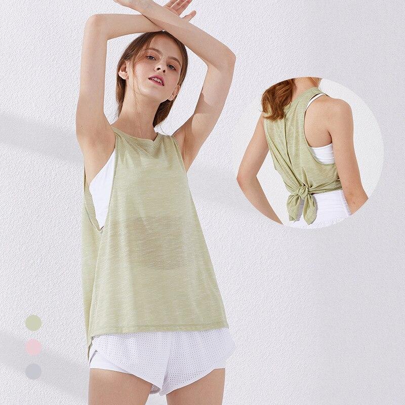 Camisa de Fitness sem Mangas Dividir Voltar Yoga Superior Relaxado Esportes Colete Desempenho Leve Ginásio Tanque Secagem Rápida Activewear Topos