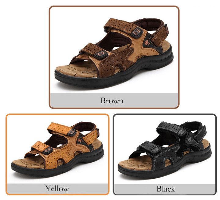 HTB1HMZbbijrK1RjSsplq6xHmVXah - ROXDIA Genuine Leather New Fashion Summer Breathable Men Sandals Beach Shoes Men's Causal Shoes Plus Size 39-44 RXM002