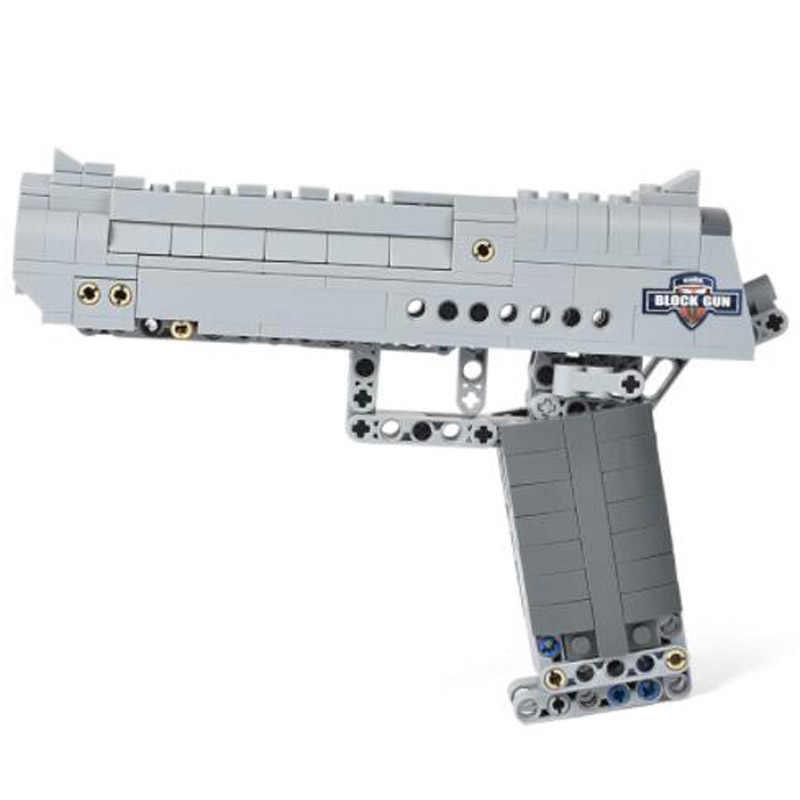 سلاح مسدس لعبة النسر الصحراء نموذج لتقوم بها بنفسك اللبنات مسدس مسدس Airsoft مع رصاصة في الهواء الطلق لعبة للأطفال هدية الأولاد ل