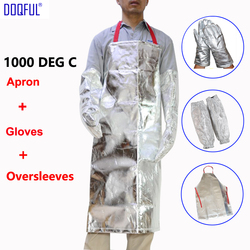 Work Gloves Heat Resistant 1000 Degree Aluminized Apron Aluminum Foil Oversleeves Thermal Radiation High Temperature Working