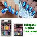 Comercio al por mayor 1 set/lot 12 Color Glitter Decoración Rebanadora 3D Lentejuelas Botella Nail Art Set Dropshipping KQH027