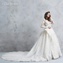 Illusion Corset Long Sleeve Wedding Dress Royal Luxury Pearl Beaded Ball Gown Bridal Gown(China)