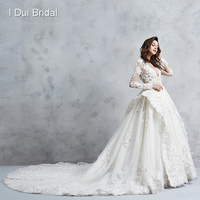 Illusion Corset Long Sleeve Wedding Dress Royal Luxury Pearl Beaded Ball Gown Bridal Gown
