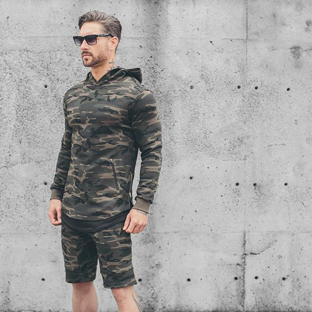 camo all season pullover hoodie fitness sweatshirt Camouflage slim 100% long-sleeve cotton sweatshirt split zipper light weight
