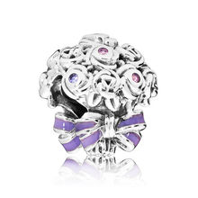 144d0e628 Authentic S925 Sterling Silver DIY Jewelry Celebration Bouquet Charm fit  Pandora Bracelet Bangle Lilac & Rose Pink Purple Enamel