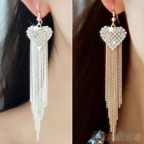 Women's Love Heart Party Long Tassels Rhinestone Hook Dangle Linear Earrings  1P3C