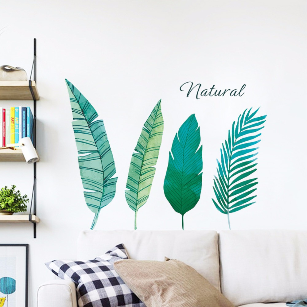 1pc Ins Northern Style Green Plant Leaves Pvc Wall Sticker For Study Room Living Room Wardrobe Decoration Mural Art #287696 Cool In Summer And Warm In Winter Wall Stickers