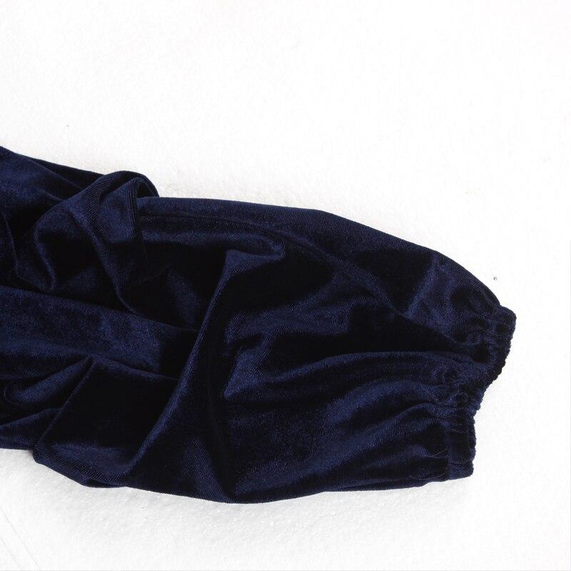 Elegant Lantern Sleeve Deep V Neck Cross Velvet Bodycon Dress