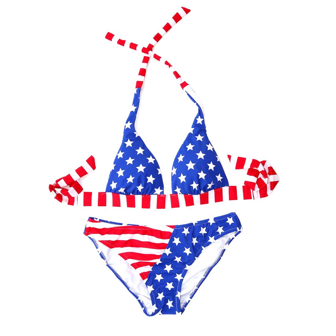 Swimsuits Bikini Bathing Suit Low Wait Wirt Free Print biquinis Women American Red Blue Star Flag Sexy Secret Swimwear 1