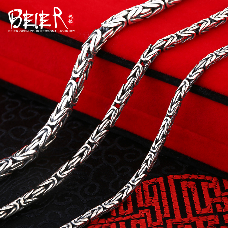 Beier new store 100% 990 silver sterling necklaces pendants trendy fine jewelry chains for women/men Gift BR XL002