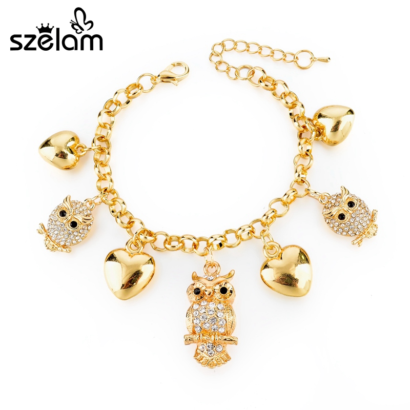 Szelam Crystal Owl Pendant Bracelet Female Heart Love Charm Bracelets For Women Gold Jewelry Pulseras SBR160024