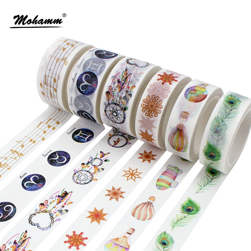Creative Kawaii Constellation Feather Decorative Adhesive Tape Washi Tape DIY Scrapbooking Masking Tape School Office Supply colorful gilding hot silver alice totoro decorative washi tape diy scrapbooking masking craft tape school office supply