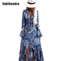 Sexemara 2017 Summer Paisley Print Cotton Women Maxi Long Dress Boho Bohemian Beach Ladies Vintage Deep