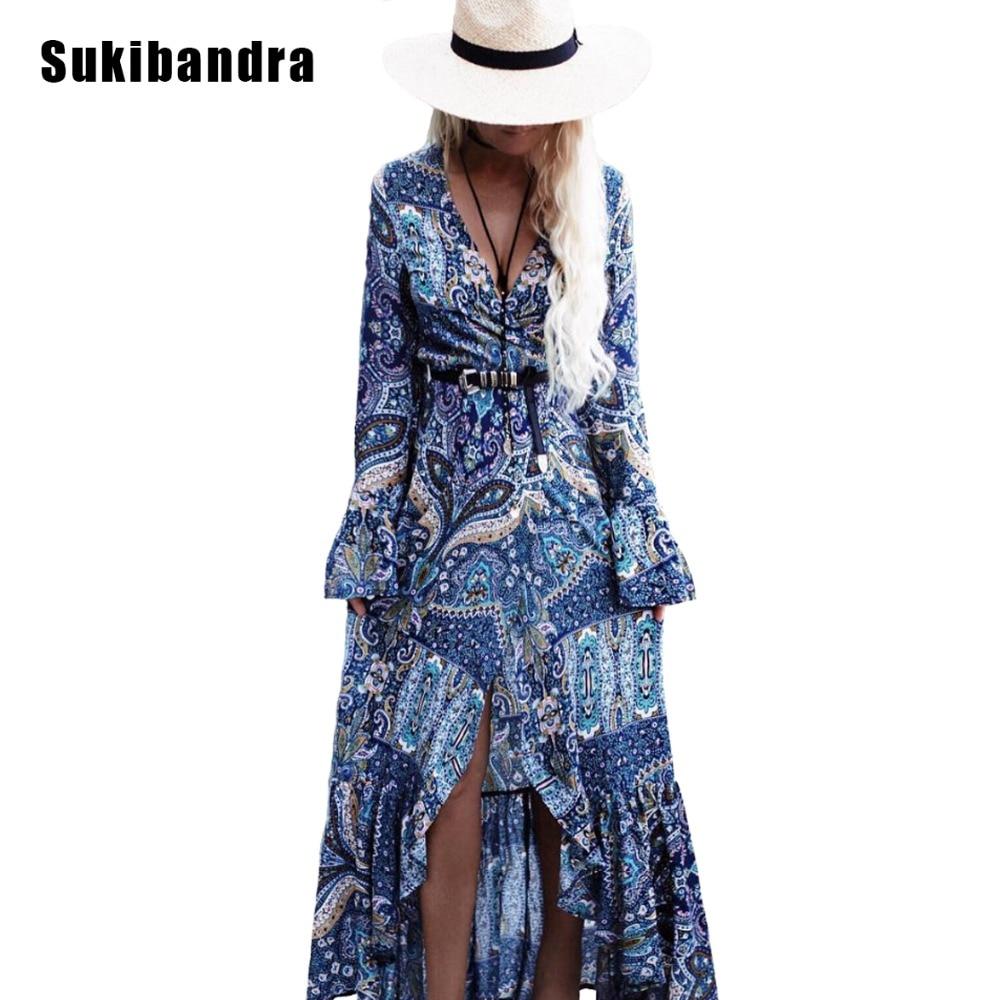 Sukibandra Paisley Print Women Boho Bohemian Long Maxi Flare Sleeve Dress For Beach Summer Ladies Vintage V Neck Casual Dresses
