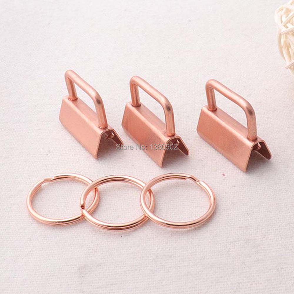 20pcs /lot Rose Gold  Color 25mm Key Fob Hardware With Key Ring Split Ring Buckle  For Lanyard Wrist Wristlets Cotton