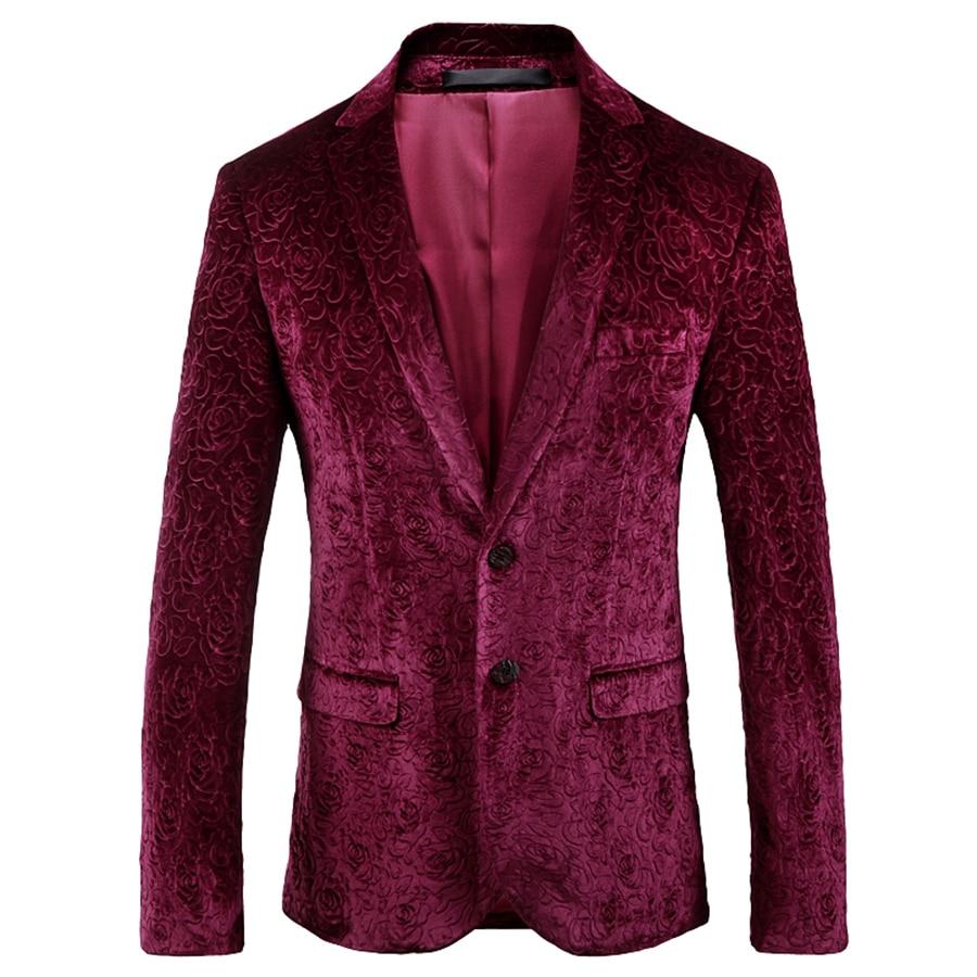 Red Velvet Blazer Men Luxury Paisley Flower Office Wedding Luxury Man Blazer Casual Suit Jacket Fancy Fit Mens Business Suit