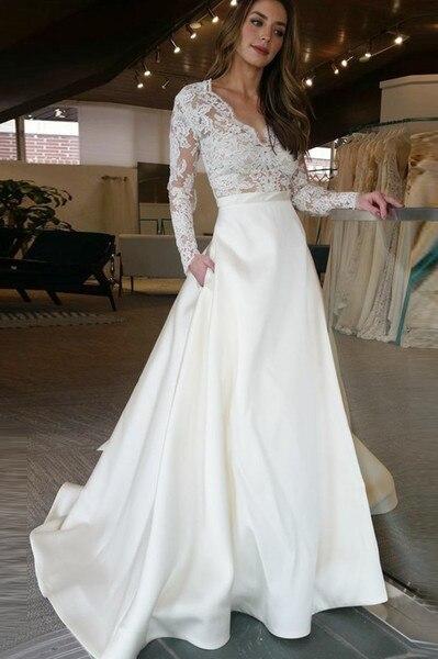 A-Line Satin Elegant Wedding Dresses 2019 Pocket V-Neck Vestido De Novia Lace Long Sleeves Robe Mariage New Spring Bridal Gowns