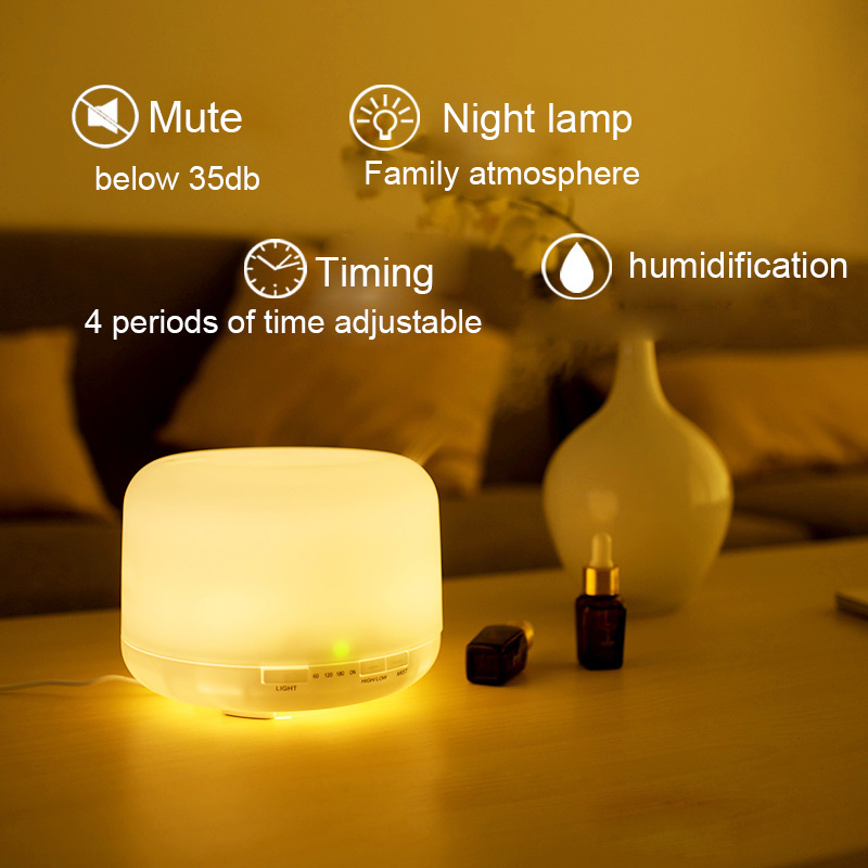 500ML Ultrasonic Air Aroma Humidifier With 7 Color Lights Electric Aromatherapy Essential Oil Aroma Diffuser Night Lights