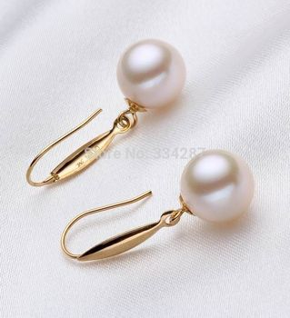 grade latest wor real Women Gift word Love  design  Noble 10-11mm white Round pearl Dangle earrings