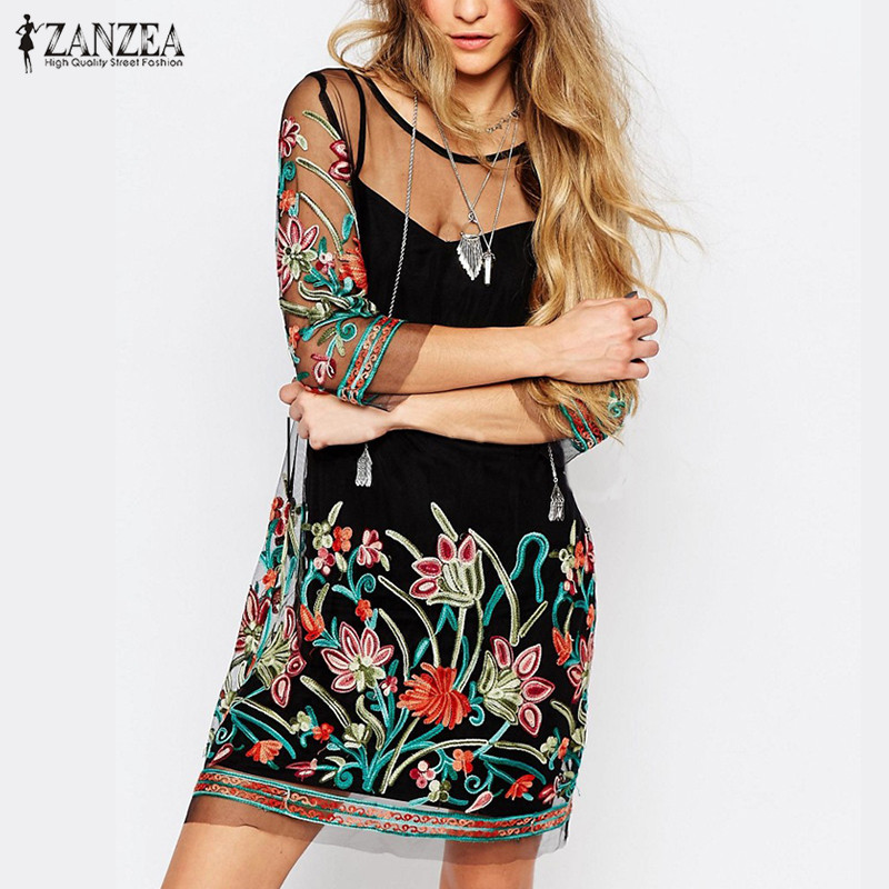 ZANZEA Women Summer Dress 2018 Boho Vintage Floral Embroidery Lace Mesh Mini Dresses Casual See Through Vestidos Plus Size