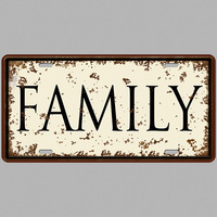 Matriculas Vintage Family Tin Sign Plate Garage Plaque Bar Club Decor Plaque Iron Metal shabby chic Man Cave Home Wall 15*30cm