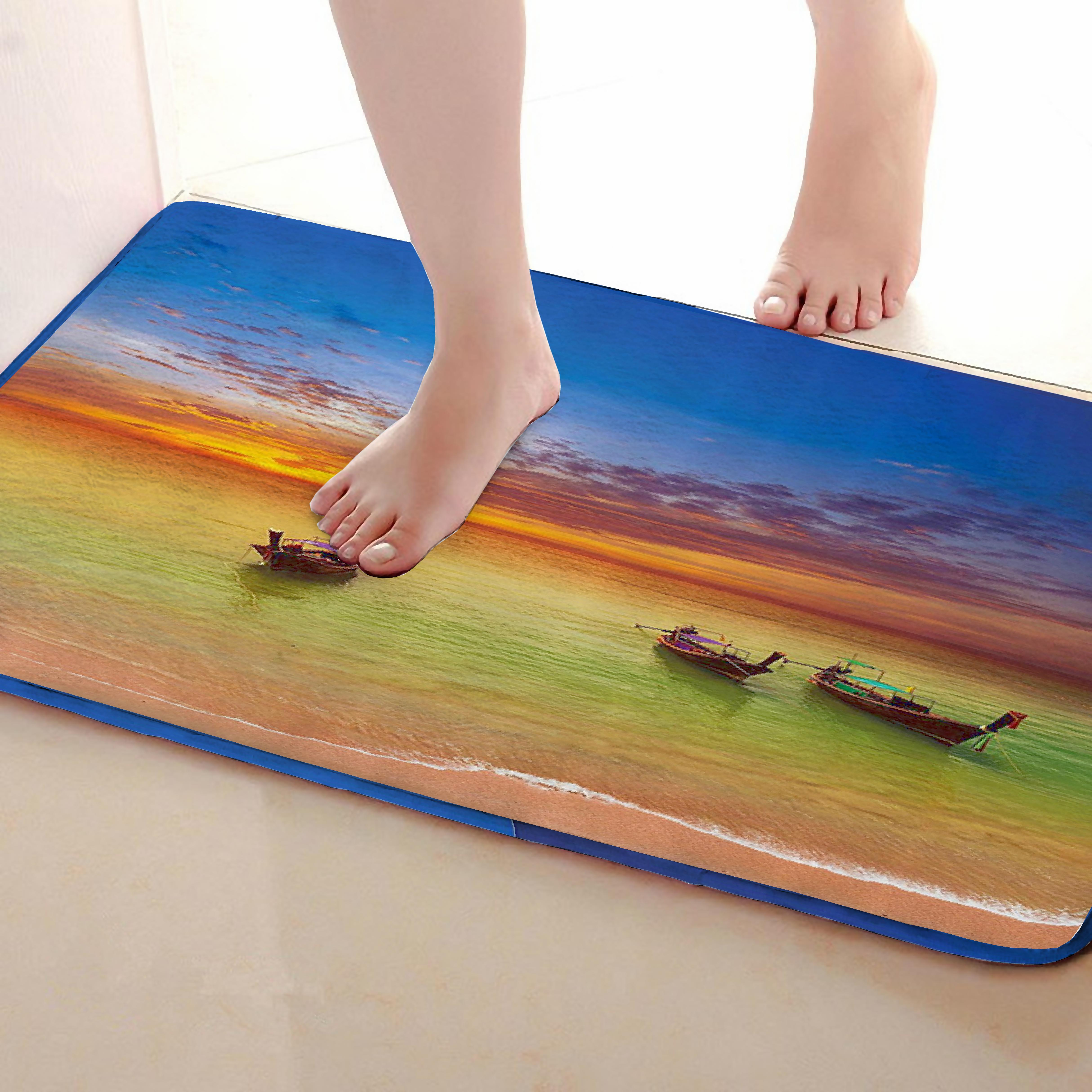 Boat Style Bathroom Mat,Funny Anti Skid Bath Mat,Shower Curtains Accessories,Matching Your Shower Curtain