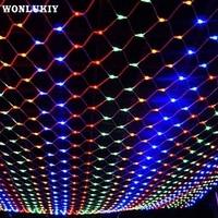 4mX6m Christmas Garlands LED String Christmas Net Lights Fairy Xmas Party Garden Wedding Decoration Curtain Lights RGB White