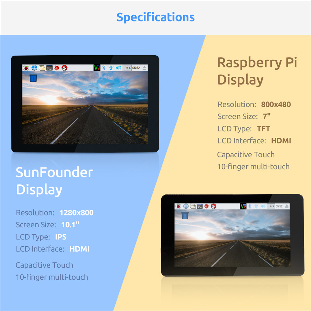 Image 2 - SunFounder 10.1 IPS LCD Touch Screen Display Monitor HDMI 1280*800 for Raspberry Pi 3B+ 3B 2B  LattePanda Beagle Bone-in Demo Board Accessories from Computer & Office