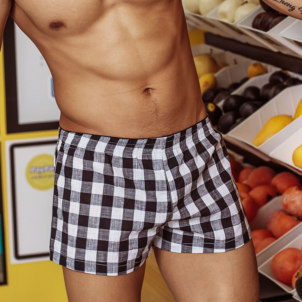 Boxers Shorts Sleepwear Pajamas Underpants Men's 100%Cotton Loose Home Fashion Plaid