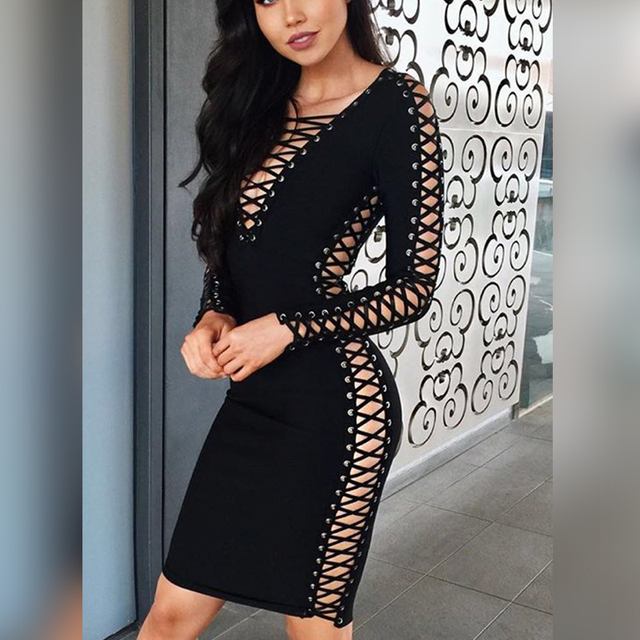 9cccaaaab06b S6031 Black Bandage Lace Up Dresses V Neck Long SLeeve Knee High Bodycon  Sexy Jessica Green Celebrity Party Dresses for Women