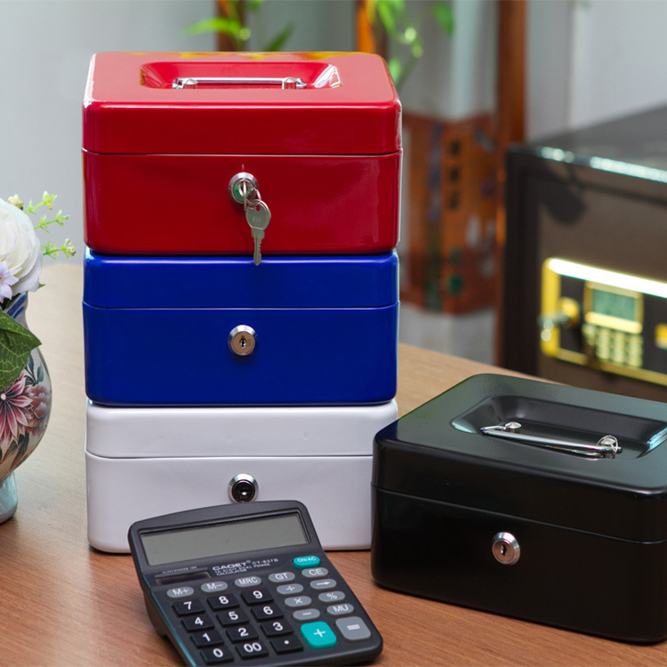 Portable Safe Box Money Jewelry Storage Collection Box For Home School Office With Compartment Tray Lockable Security Box Siz