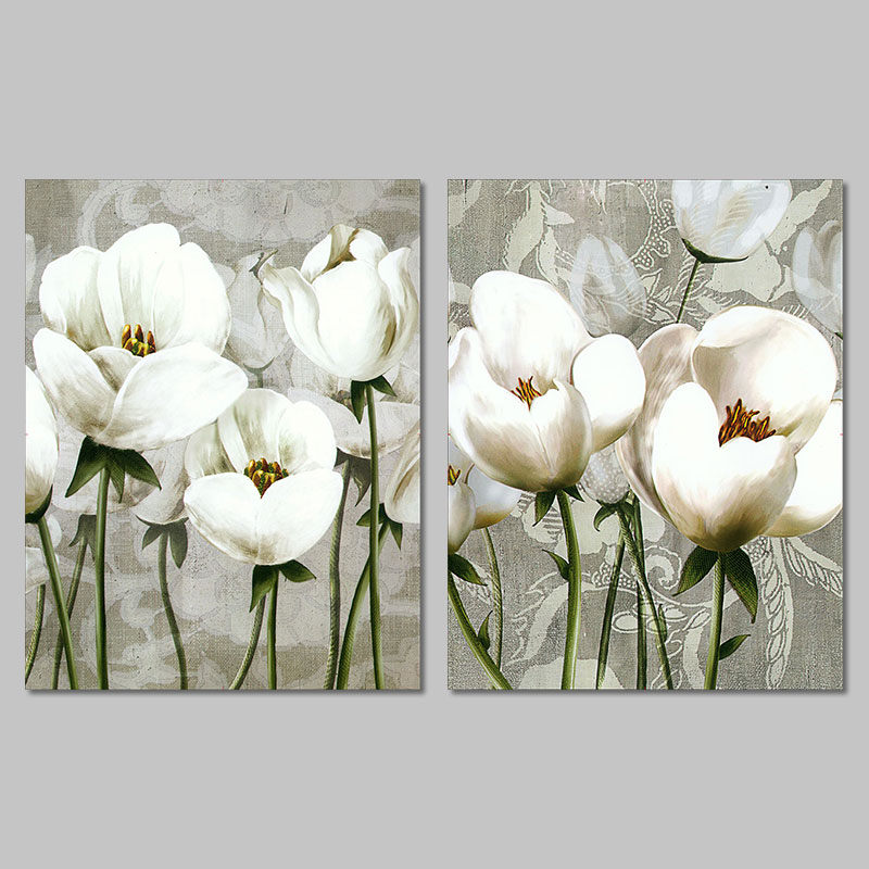 Retro Fashion White Flower Decoration Posters Wall Art