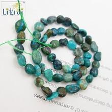 Liiji natural piedra natural chrysocolla Pepita irregular 5×7-6x10mm perlas sueltas aproximadamente 39 cm joyas DIY haciendo collar de pulsera