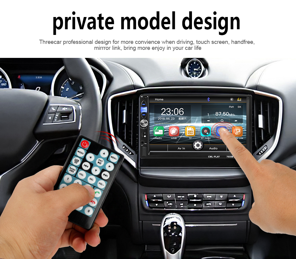 Factory Design Universal 2Din MP5 Player Radio Stereo Bluetooth Handsfree Steering Wheel Control with Reverse Camera Mirror Link (9)