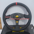 330 Universal Leather Sport Car Steering Wheel Flat Style With Red Stitch