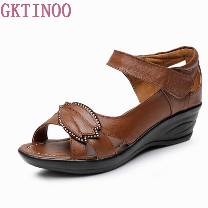 Plus size 35-43 100% Genuine Leather Sandals 2018 Brand New Wedges Summer Shoes Gladiator Ankle Straps Open Toe Platform Sandals phyanic 2017 gladiator sandals gold silver shoes woman summer platform wedges glitters creepers casual women shoes phy3323