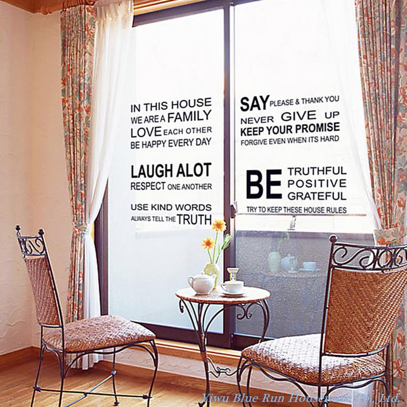 We Are Family Wall Decals Quotes Wall Stickers Home Decor Living Room House Rules Vinyl Removable Home Decorations Wallpaper in Wall Stickers from Home Garden