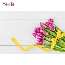 Yeele Tulip Flowers Bouquet Wooden Plank Texture Commodity Show Photography Backgrounds Photographic Backdrops For Photo Studio