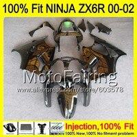 8Gifts Injection mold Body For KAWASAKI NINJA ZX 6R 00 02 INJ173 ZX 6R ZX6R 00 01 02 ZX636 2000 2001 2002 Fairing gloss black