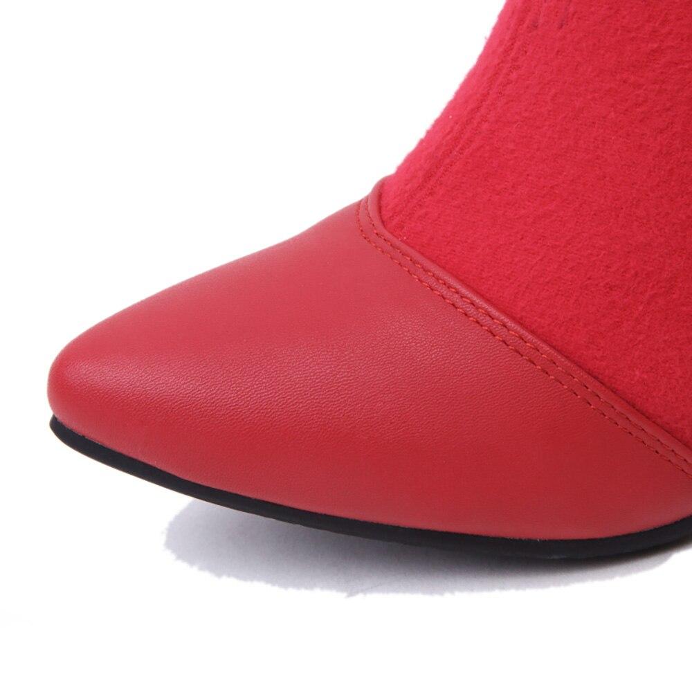 Más Wh301 Cómodo Gris Invierno Montar 2018 Nuevo Rodilla Grande 45 gray Lining Thick Black black 43 La Mujeres Rojo Zapatos 32 Alto Lining gray Señora Tamaño Botas De red Tacón 10 IawaZnEq